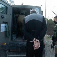24 ديسمبر ، 2020 ، جنود في الضفة الغربية يعتقلون مشتبها به في جريمة قتل إستر هورغن (الجيش الإسرائيلي)