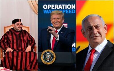 (من اليسار إلى اليمين) رئيس الوزراء بنيامين نتنياهو، الرئيس الأمريكي دونالد ترامب، والعاهل المغربي الملك محمد السادس (Abir Sultan, Evan Vucci and Moroccan Royal Palace/AP)