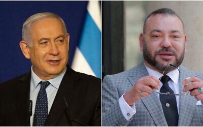 يسار: رئيس الوزراء الإسرائيلي بنيامين نتنياهو في القدس، 19 نوفمبر 2020؛ يمين: العاهل المغربي الملك محمد السادس في باريس، 2 مايو 2017 (AP Photos / Maya Alleruzzo ، Michel Euler)