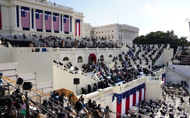 الرئيس الأمريكي جو بايدن يلقي خطابًا خلال تنصيبه كرئيس للولايات المتحدة، في مبنى الكابيتول الأمريكي في واشنطن العاصمة، 20 يناير 2021 (Kevin Dietsch / POOL / AFP)