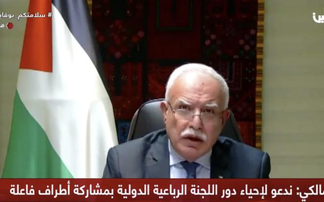 وزير خارجية السلطة الفلسطينية رياض المالكي يخاطب مجلس الأمن التابع للأمم المتحدة في 26 يناير، 2021. (screenshot: Palestine TV)