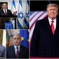 (في اتجاه عقارب الساعة من أعلى اليمين) رئيس الوزراء بنيامين نتنياهو والرئيس الأمريكي دونالد ترامب والرئيس الموريتاني محمد ولد الغزواني والرئيس الإندونيسي جوكو ويدودو.(Collage/AP)