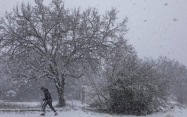 رجل يمشي في الثلج في مرتفعات الجولان، 17 فبراير، 2021. (AP Photo / Ariel Schalit)