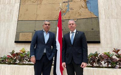 سفير إسرائيل لدى الولايات المتحدة جلعاد إردان مع نظيره المصري معتز زهران، 9 فبراير 2021 (Courtesy)