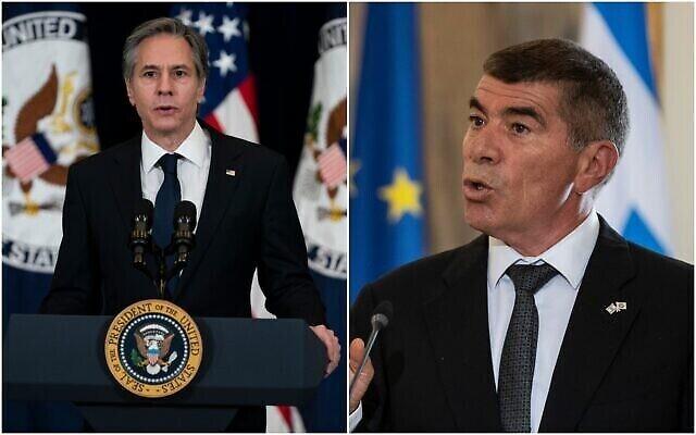 وزير الخارجية الأمريكي أنتوني بلينكين (من اليسار) ووزير الخارجية غابي أشكنازي. (Collage/AP)