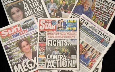 عناوين صحف بريطانية حول المقابلة التي أجرتها ميغن، دوقة ساسكس، زوجة الأمير البريطاني هاري، دوق ساسكس، مع أوبرا وينفري، والتي تم بثها على محطة CBS الأمريكية، 8 مارس 2021 (Glyn KIRK / AFP)
