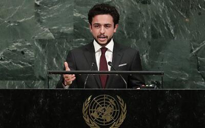 ولي العهد الأردني الأمير الحسين بن عبد الله يلقي كلمة أمام الجمعية العامة للأمم المتحدة، في مقر الأمم المتحدة، 21 سبتمبر 2017 (Frank Franklin II / AP)