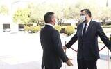 وزير الخارجية غابي أشكنازي (يسار) يلتقي بنظيره البرازيلي إرنستو أروجو في القدس، 7 مارس 2021 (Foreign Ministry)
