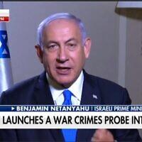 """رئيس الوزراء بنيامين نتنياهو في مقابلة مع برنامج """"فوكس والأصدقاء""""، 4 مارس 2021 (Screen capture: Twitter)"""