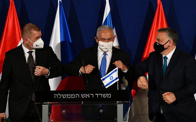 رئيس الوزراء بنيامين نتنياهو، وسط الصورة، مع رئيس الوزراء التشيكي أندريه بابيس، من اليسار، ورئيس الوزراء المجري فيكتور أوربان، من اليمين، في القدس، 11 مارس، 2021. (Haim Zach / GPO)