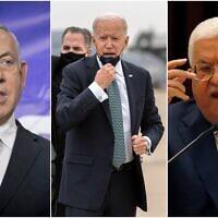 (من اليسار إلى اليمين) رئيس الوزراء بنيامين نتنياهو والرئيس الأمريكي جو بايدن ورئيس السلطة الفلسطينية محمود عباس (Collage/AP)