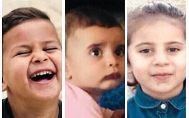خالد (3 سنوات) ، أبرار (سنة) وليلة (4 سنوات) أبو سبيت، الذين لقوا مصرعهم في حريق بمنزلهم في قرية حورة، 4 مارس، 2020. (Courtesy)