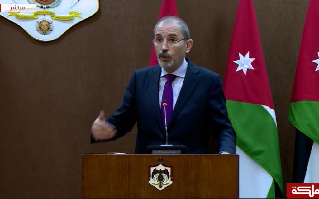 وزير الخارجية الأردني أيمن الصفدي يتحدث للصحافة في عمان، الأردن، 12 سبتمبر، 2019. (Screen capture Al-Mamlaka TV)
