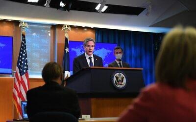 وزير الخارجية الأمريكي أنتوني بلينكن يتحدث خلال إصدار تقارير الدول حول ممارسات حقوق الإنسان لعام 2020، في وزارة الخارجية بواشنطن العاصمة، 30 مارس 2021 (MANDEL NGAN / POOL / AFP)