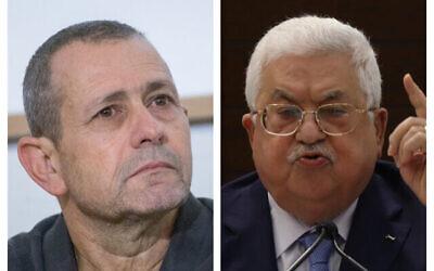 (من اليسار) رئيس الشاباك نداف أرغمان (Miriam Alster/Flash90)، و(من اليمين) رئيس السلطة الفلسطينية محمود عباس (Alaa Badarneh/Pool Photo via AP)
