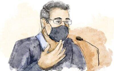 رسم لإيلان يشوع في المحكمة المركزية في القدس، 5 أبريل 2021 (Biana Zakutnik)