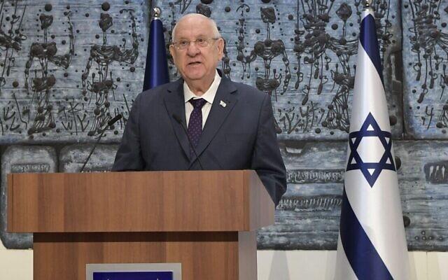 الرئيس الإسرائيلي رؤوفين ريفلين يعلن اختياره للمرشح المكلف بتشكيل الحكومة، 6 ابريل 2021 (Koby Gideon / GPO)