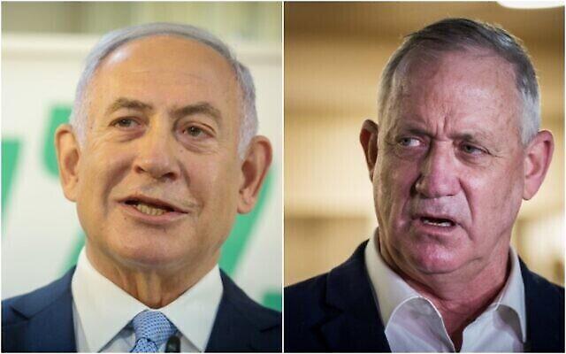 رئيس الوزراء بنيامين نتنياهو (يسار) ووزير الدفاع بيني غانتس. (Yonatan Sindel، David Cohen / Flash90)