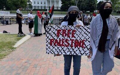 توضيحية: متظاهرون يحملون لافتات  في تظاهرة مؤيدة للفلسطينيين امام البيت الابيض في واشنطن العاصمة، 20 مايو، 2021. (Daniel SLIM / AFP)