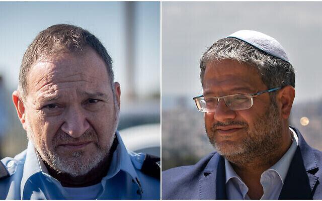 المفوض العام للشرطة كوبي شبتاي (الصورة من اليسار) وعضو الكنيست إيتمار بن غفير (الصورة من اليمين). (Flash90)