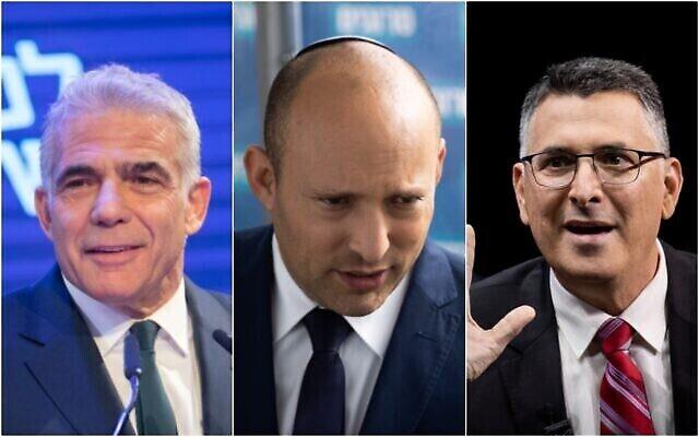 من اليسار إلى اليمين: زعيم حزب يش عتيد، يائير لابيد، (Miriam Alster / Flash90) ؛ رئيس حزب يمينا، نفتالي بينيت؛ ورئيس حزب الأمل الجديد، غدعون ساعر. (Yonatan Sindel / Flash90)