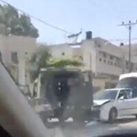 موقع محاولة عملية دهس عند حوارة بالضفة الغربية، 17 مايو، 2021. (Screen grab / Kan)