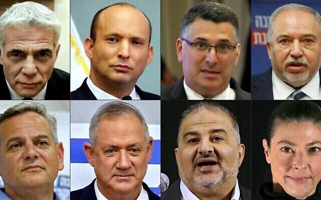 قادة الحزب في الائتلاف الناشئ: تُظهر هذه المجموعة من الصور التي تم تركيبها في 2 يونيو 2021 (من الأعلى (من اليسار إلى اليمين) زعيم 'يش عتيد' يائير لابيد ، زعيم 'يمينا' نفتالي بينيت ، زعيم 'الأمل الجديد' غدعون ساعر ، زعيم حزب 'يسرائيل بيتنو' أفيغدور ليبرمان ، (من الأسفل من اليسار إلى اليمين) زعيم حزب 'ميرتس' نيتسان هوروفيتس، زعيم حزب 'أزرق أبيض' بيني غانتس، زعيم حزب 'القائمة العربية الموحدة' منصور عباس, وزعيمة حزب 'العمل' ميراف ميخائيلي. (Photos by AFP)