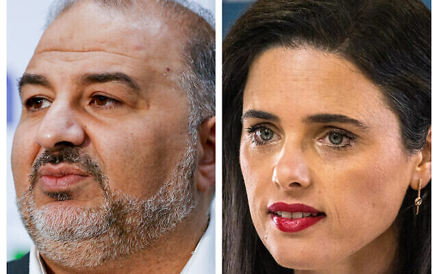في الصورة من اليمين منصور عباس، رئيس حزب القائمة العربية الموحدة، وفي الصورة من اليسار عضو الكنيست عن حزب 'يمينا' أييليت شاكيد.  (Yonatan Sindel, Olivier Fitoussi/Flash90)
