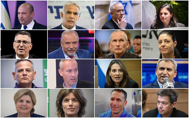 الأعضاء القياديون في الحكومة السادسة والثلاثون المرتقبة، من اليسار إلى اليمين، من أعلى إلى أسفل: نفتالي بينيت، يائير لابيد، بيني غانتس، أيليت شاكيد، غدعون ساعر، أفيغدور ليبرمان، عومر بارليف، ميراف ميخائيلي، نيتسان هورفيتس، حيلي تروبر، يفعات شاشا -بيتون، زئيف إلكين، أورنا باربيفاي، تمار زاندبرغ، متان كاهانا، يوعاز هندل. (Yonatan Sindel, Olivier Fitoussi, Avshalom Sassoni, Gili Yaari/Flash90) )
