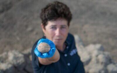 عالمة الآثار في سلطة الآثار الإسرائيلية آلا ناغورسكي مع بيضة عمرها 1000 عام تم اكتشافها في يافني. (Yoli Schwartz/Israel Antiquities Authority)