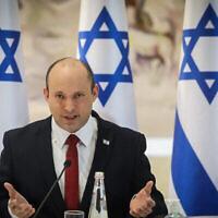 رئيس الوزراء نفتالي بينيت في جلسة لمجلس الوزراء في الكنيست في القدس، 19 يوليو، 2021. (Marc Israel Sellem / POOL)
