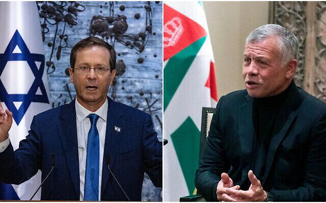 الرئيس الإسرائيلي يتسحاق هرتسوغ (إلى اليسار) والملك الأردني عبد الله الثاني (إلى اليمين). (Olivier Fitoussi / FLASH90، Alex Brandon / AP)