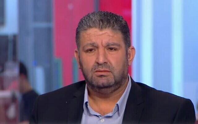 عقوب أبو القيعان في مقابلة تلفزيونية في مايو  2021 (Channel 12 screesnot)