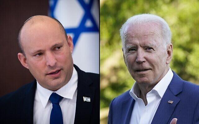 رئيس الوزراء نفتالي بينيت (في الصورة من اليسار) والرئيس الأمريكي جو بايدن (من اليمين). (composite image: AP, Flash90)