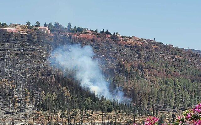 حريق صغير بالقرب من كريات يعاريم، خارج القدس، 19 أغسطس، 2021 (Courtesy)