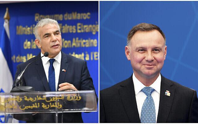 وزير الخارجية يائير لابيد (من اليسار) يتحدث خلال  احتفال في الرباط، 11 أغسطس ، 2021. الرئيس البولندي أندريه دودا (يمين) يصل إلى قمة الناتو في بروكسل في 14 يونيو، 2021. (Shlomi Amsalem/GPO; Kenzo Tribouillard/Pool via AP)