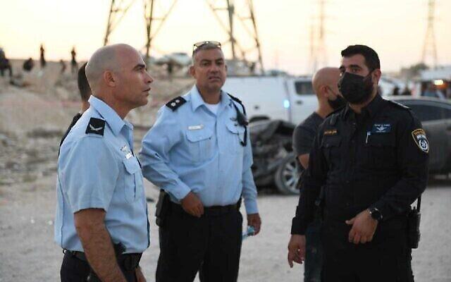 الشرطة في موقع جريمة قتل في النقب، 21 سبتمبر 2021 (Israel Police)