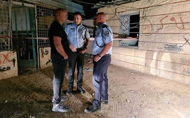 الشرطة في موقع إطلاق نار في اللقية، 25 سبتمبر، 2021. (Israel Police)