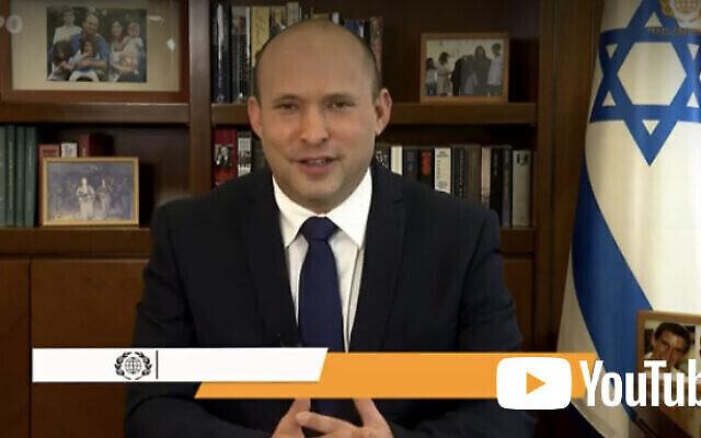 رئيس الوزراء نفتالي بينيت يلقي كلمة في الاحتفال السنوي الثاني والأربعين الذي تنظمه منظمة ICEJ    بمناسبة عيد السوكوت.(screenshot)