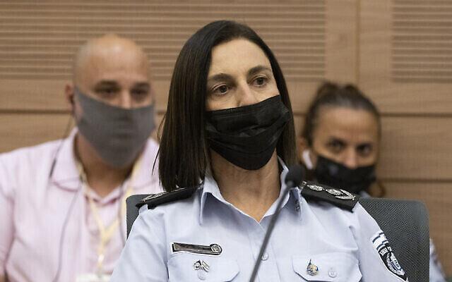 مفوضة مصلحة السجون الإسرائيلية كاتي بيري تتحدث خلال جلسة للجنة الأمن الداخلي في الكنيست، 13 سبتمبر، 2021. (Olivier Fitoussi / Flash90)