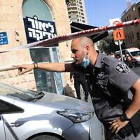 مكان هجوم طعن خارج محطة الحافلات المركزية في القدس، 13 سبتمبر، 2021. (Olivier Fitoussi / Flash90)