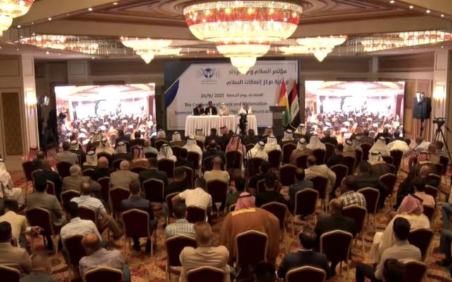 مئات النشطاء العراقيين يتجمعون في أربيل بكردستان للمطالبة بالتطبيع مع إسرائيل، 24 سبتمبر، 2021. (Screenshot)