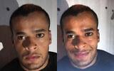 مناضل انفيعات في صورة نشرها الشاباك (من اليسار) وفي صورة أخرى تم تعديلها على مواقع التواصل الاجتماعي (من اليمين). (Shin Bet/Screenshot)