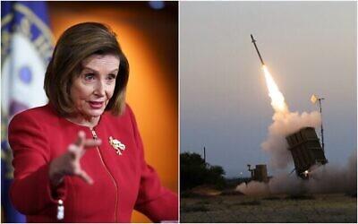 """إلى اليسار: رئيسة مجلس النواب الأمريكي نانسي بيلوسي، ديمقراطية من كاليفورنيا، تلتقي بالصحفيين لمناقشة جدول الأعمال المحلي للرئيس جو بايدن في مبنى الكابيتول بواشنطن، 8 سبتمبر، 2021. (AP Photo / J. Scott Applewhite)؛ على اليمين: نظام الدفاع الجوي """"القبة الحديدية"""" يطلق صاروخا لاعتراض صاروخ تم إطلاقه من قطاع غزة في مدينة أشكلون الساحلية، 5 يوليو، 2014. (AP Photo / Tsafrir Abayov)"""
