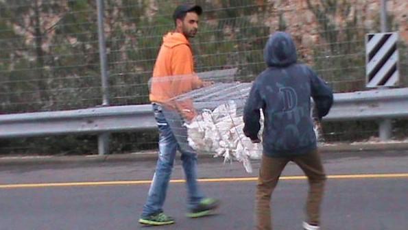 شباب قرية نبي صاموئيل يحملون قفص دجاج الى اخر القرية (مقدمة من نوال بركات)