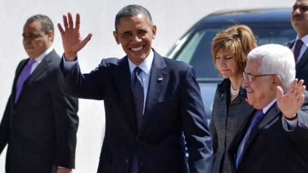 الرئيس الامريكي باراك اوباما مع رئيس السلطة الفلسطينية محمود عباس في رام الله 2013 (بعدسة عصام ريماوي/ فلاش 90)
