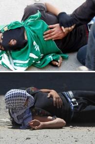 """زوج من الصور حررت لتظهر الشباب الفلسطيني محمد عودة (أعلى)، 17 عاما، ومصعب نوارة (20 عاما) ملقى على الأرض بعد إطلاق النار عليهم من قبل القوات الإسرائيلية أثناء اشتباكات عقب احتجاج خارج سجن عوفر  15 مايو عام 2014، في القرية الفلسطينية بيتونيا في الضفة الغربية المحتلة بمناسبة """"النكبة"""" AFP PHOTO / ABBAS MOMANI"""