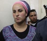 اعتقلت اليراز فين، امرأة تبلغ من العمر 22 عاما من مستوطنة يتسهار، للاشتباه في التحريض، على ما يبدو بصدد مناقشة عبر الإنترنت 7.05.2014 (flash 90)