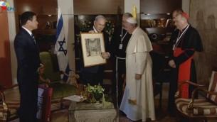 لقاء رئيس الوزراء نتنياهو مع قداسة البابا فرانسيس الاثنين  (Screen capture: GPO)