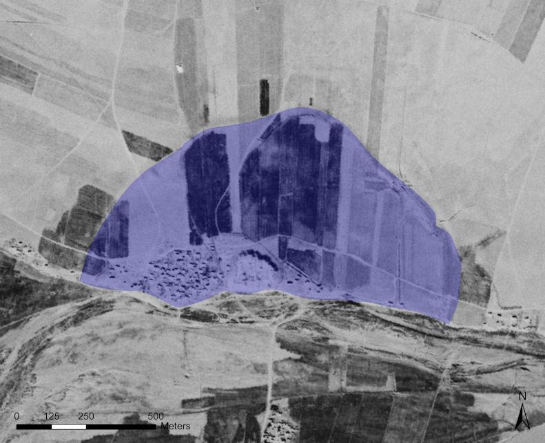 الحدود الخارجية البارزة بوضوح للعصر الحديدي المنخفض في تل احمر في سوريا (Center for Advanced Spatial Technologies, University of Arkansas/U.S. Geological Survey)